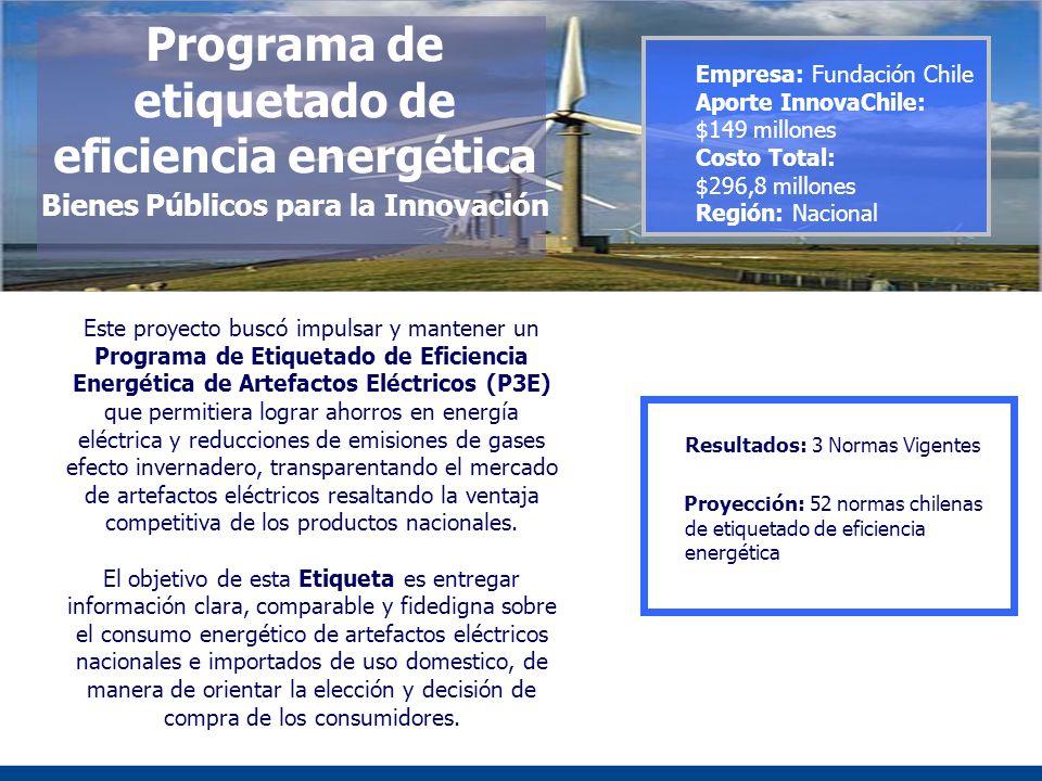 Programa de etiquetado de eficiencia energética Bienes Públicos para la Innovación Este proyecto buscó impulsar y mantener un Programa de Etiquetado d
