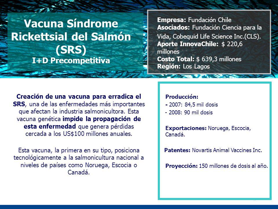 Vacuna Síndrome Rickettsial del Salmón (SRS) I+D Precompetitiva Creación de una vacuna para erradica el SRS, una de las enfermedades más importantes q