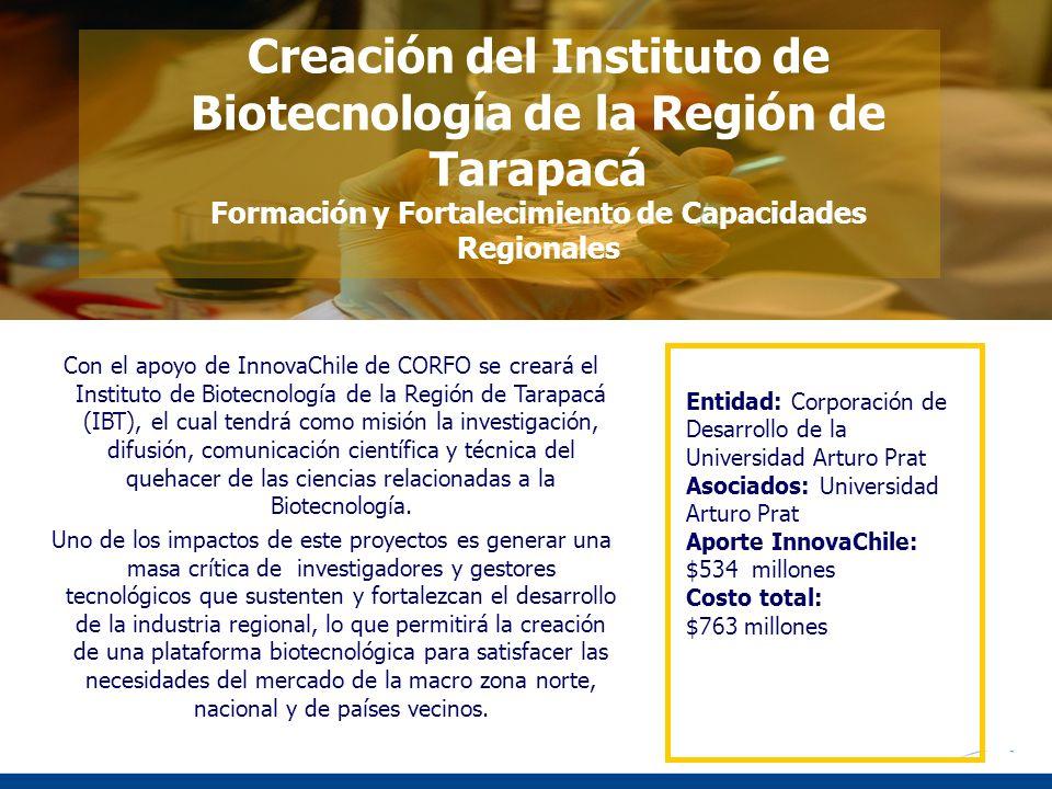 Con el apoyo de InnovaChile de CORFO se creará el Instituto de Biotecnología de la Región de Tarapacá (IBT), el cual tendrá como misión la investigaci