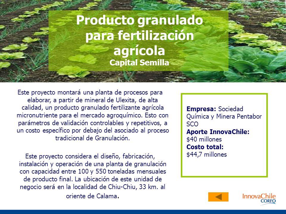 Este proyecto montará una planta de procesos para elaborar, a partir de mineral de Ulexita, de alta calidad, un producto granulado fertilizante agríco