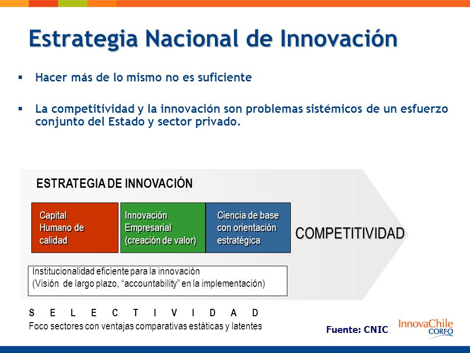 Estrategia Nacional de Innovación Hacer más de lo mismo no es suficiente La competitividad y la innovación son problemas sistémicos de un esfuerzo con