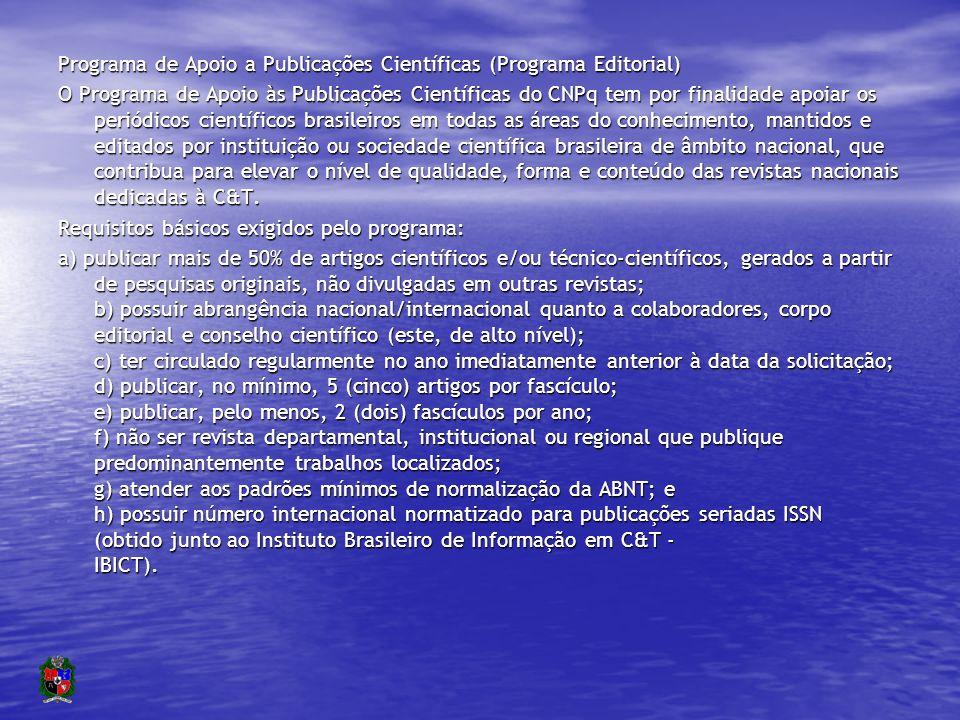 Revistas brasileiras financiadas – CNPq Área200020012003 Agrárias238.069411.723596.110 Biológicas350.236453.199482.580 Engenharias106.900187.673191.200 Exatas308.793380.549299.000 Humanas525.423792.408592.194 Letras/Artes35.80167.22469.355 Multidisciplinar139.000161.250178.290 Saúde479.500850.209462.750 Sociais Aplicadas 99.175363.800144.990 Total/ano2.282.8973.668.0353.016.469 (http://www.cnpq.br/areas/humanas_sociaisaplicadas/programa.htm)http://www.cnpq.br/areas/humanas_sociaisaplicadas/programa.htm Ano 2003: R$3.000.000/150 revistas em média: 20.000 por revista/ano http://www.liber.ufpe.br/abec/arquivos/MR_Lewis_Greene.pdfhttp://www.liber.ufpe.br/abec/arquivos/MR_Lewis_Greene.pdf).