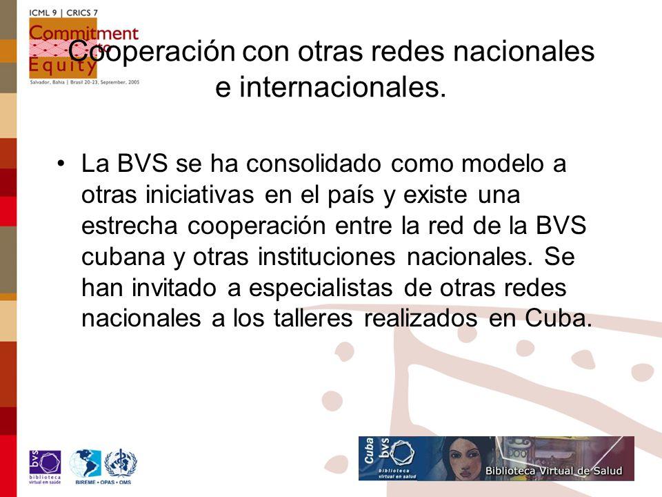 Cooperación con otras redes nacionales e internacionales.