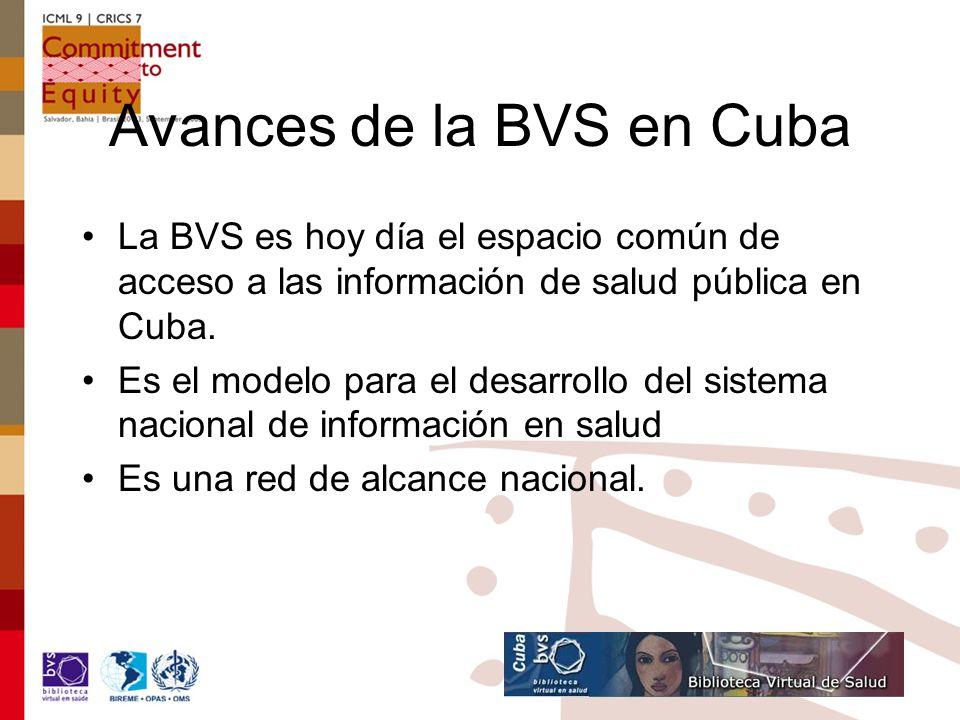 Avances de la BVS en Cuba La BVS es hoy día el espacio común de acceso a las información de salud pública en Cuba.