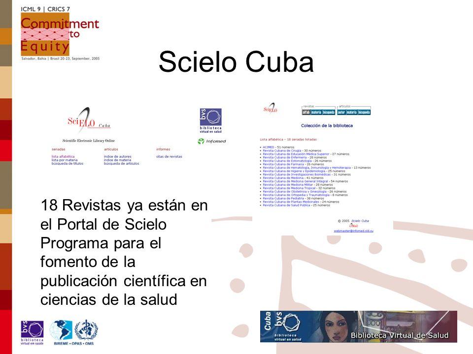 Scielo Cuba 18 Revistas ya están en el Portal de Scielo Programa para el fomento de la publicación científica en ciencias de la salud