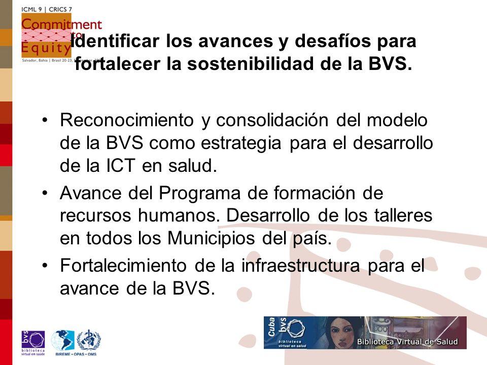 Experiencias o prácticas exitosas y merecedoras de socialización nacional e internacionalmente Llevar las estaciones BVS a los niveles de la APS Diplomado en GIS y programa para formación recursos humanos Integración red de portales de informed Integración entre la BVS y la Universidad Virtual Desarrollo de las comunidades de práctica y aprendizaje