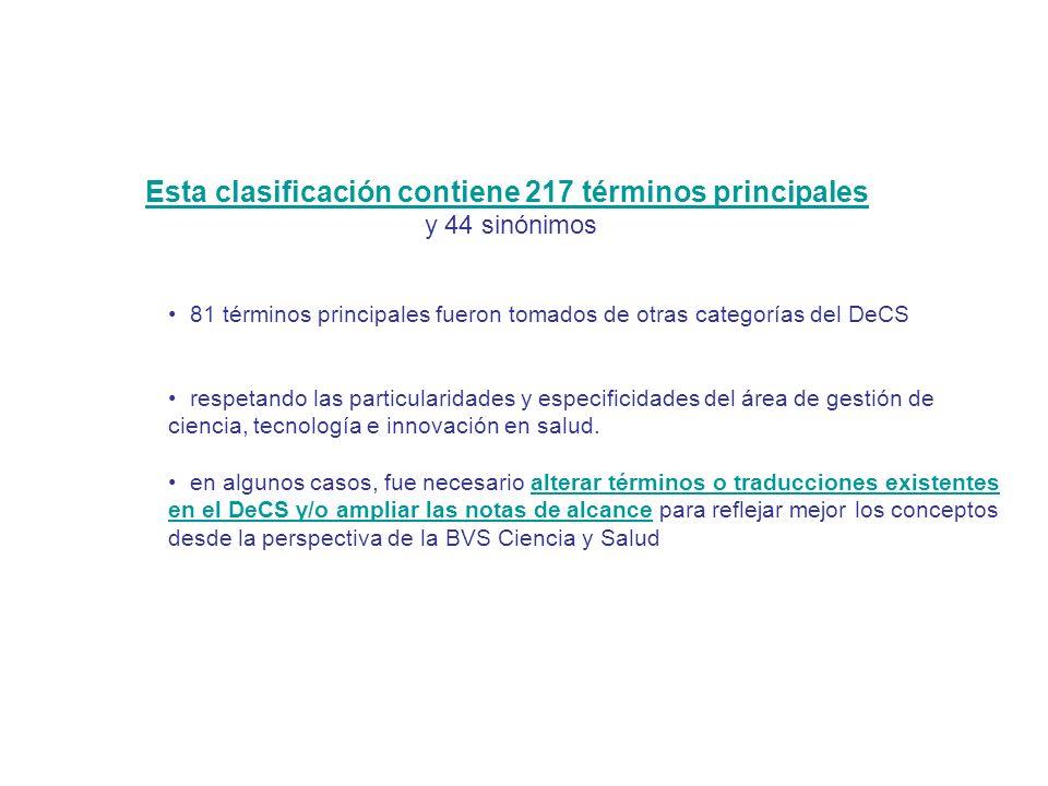 Esta clasificación contiene 217 términos principales y 44 sinónimos 81 términos principales fueron tomados de otras categorías del DeCS respetando las