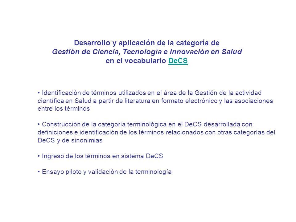 Desarrollo y aplicación de la categoría de Gestión de Ciencia, Tecnología e Innovación en Salud en el vocabulario DeCSDeCS Identificación de términos