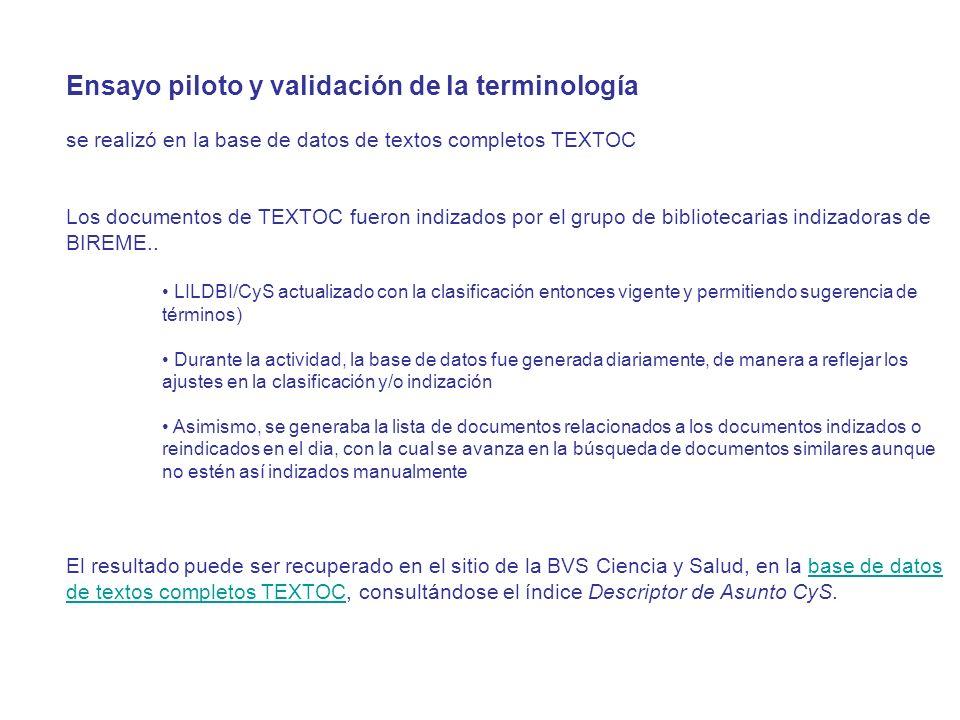 Ensayo piloto y validación de la terminología se realizó en la base de datos de textos completos TEXTOC Los documentos de TEXTOC fueron indizados por el grupo de bibliotecarias indizadoras de BIREME..