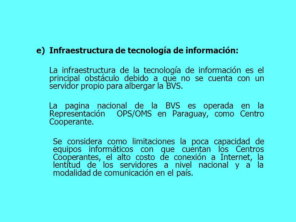 e)Infraestructura de tecnología de información: La infraestructura de la tecnología de información es el principal obstáculo debido a que no se cuenta