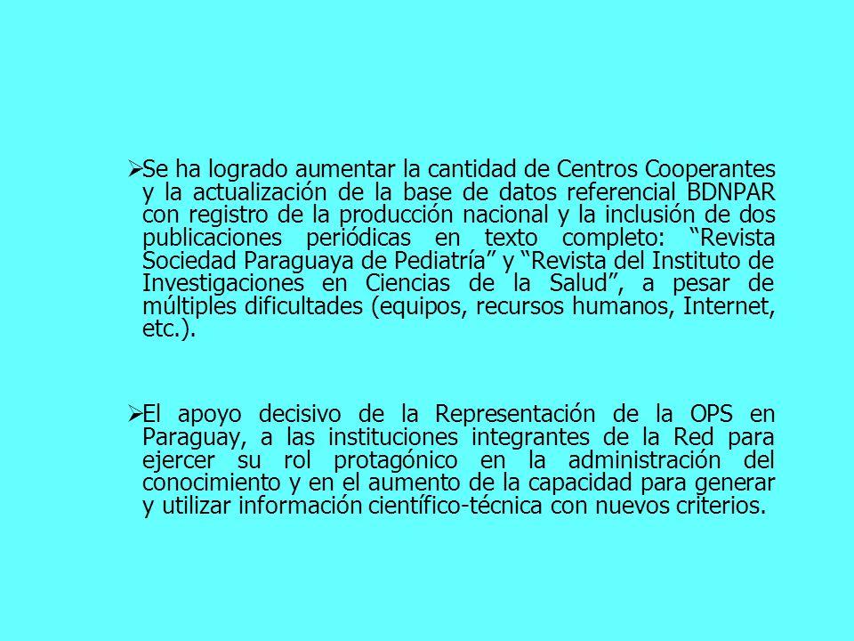 Se ha logrado aumentar la cantidad de Centros Cooperantes y la actualización de la base de datos referencial BDNPAR con registro de la producción naci