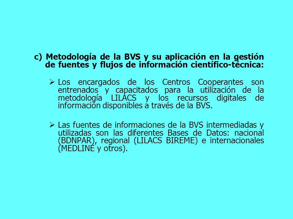 c) Metodología de la BVS y su aplicación en la gestión de fuentes y flujos de información científico-técnica: Los encargados de los Centros Cooperante