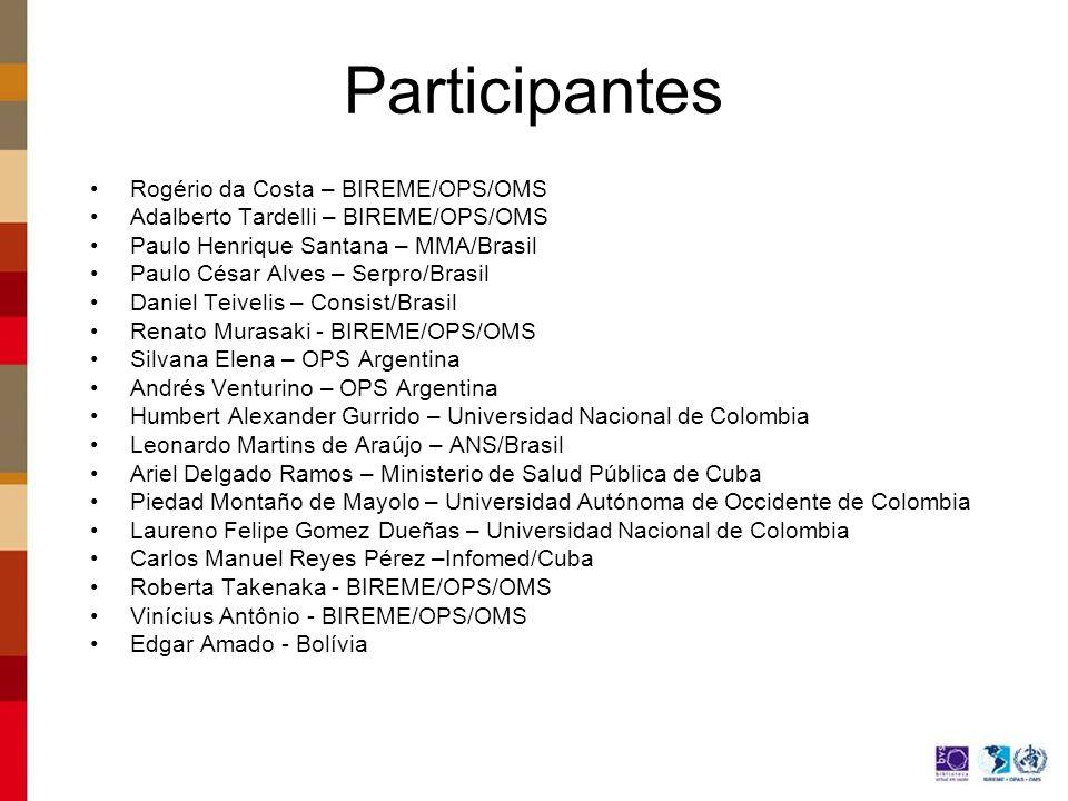 Participantes Rogério da Costa – BIREME/OPS/OMS Adalberto Tardelli – BIREME/OPS/OMS Paulo Henrique Santana – MMA/Brasil Paulo César Alves – Serpro/Bra