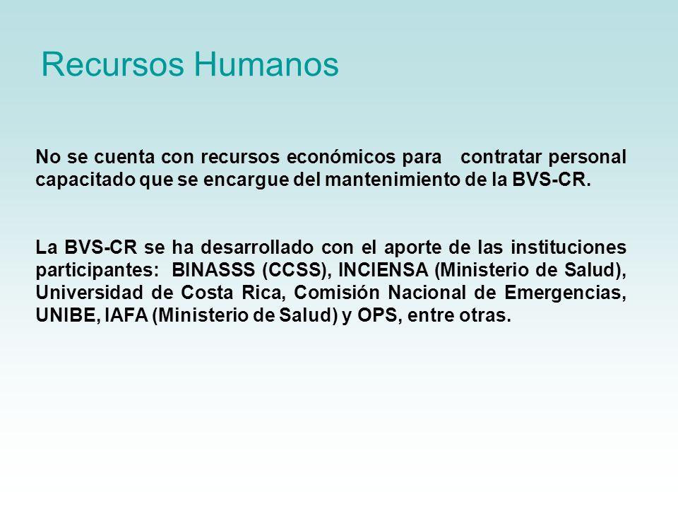 Recursos Humanos No se cuenta con recursos económicos para contratar personal capacitado que se encargue del mantenimiento de la BVS-CR. La BVS-CR se