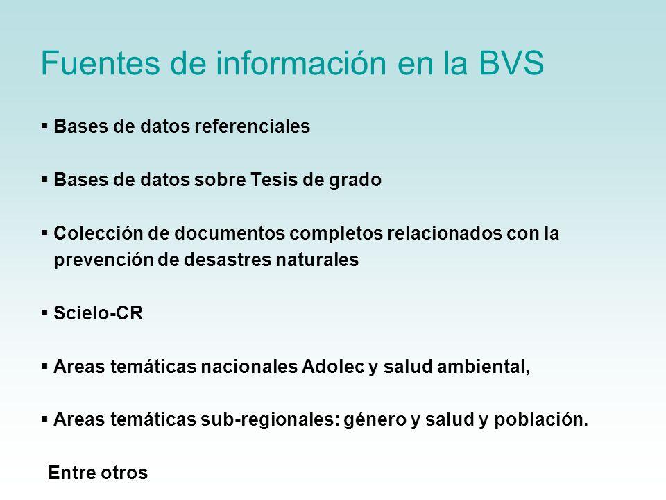 Fuentes de información en la BVS Bases de datos referenciales Bases de datos sobre Tesis de grado Colección de documentos completos relacionados con l