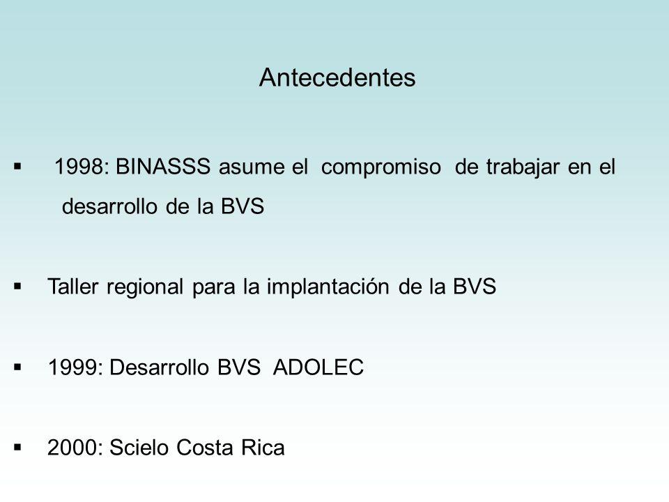 Antecedentes 1998: BINASSS asume el compromiso de trabajar en el desarrollo de la BVS Taller regional para la implantación de la BVS 1999: Desarrollo