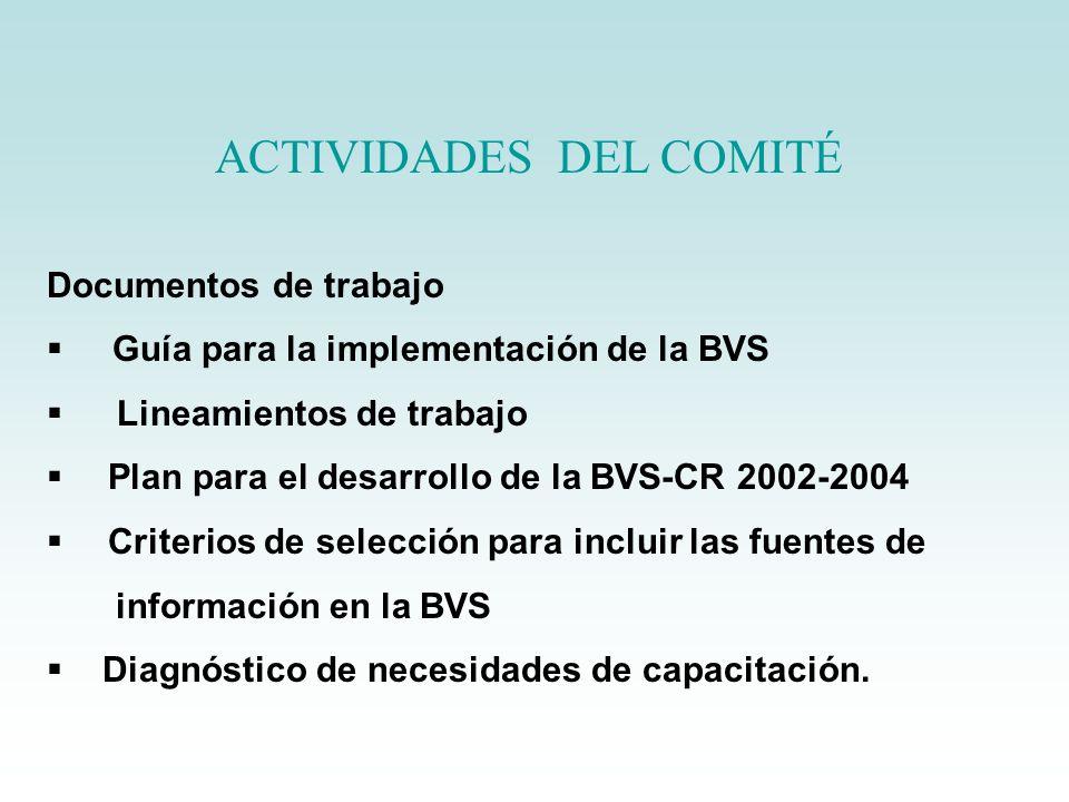 ACTIVIDADES DEL COMITÉ Documentos de trabajo Guía para la implementación de la BVS Lineamientos de trabajo Plan para el desarrollo de la BVS-CR 2002-2