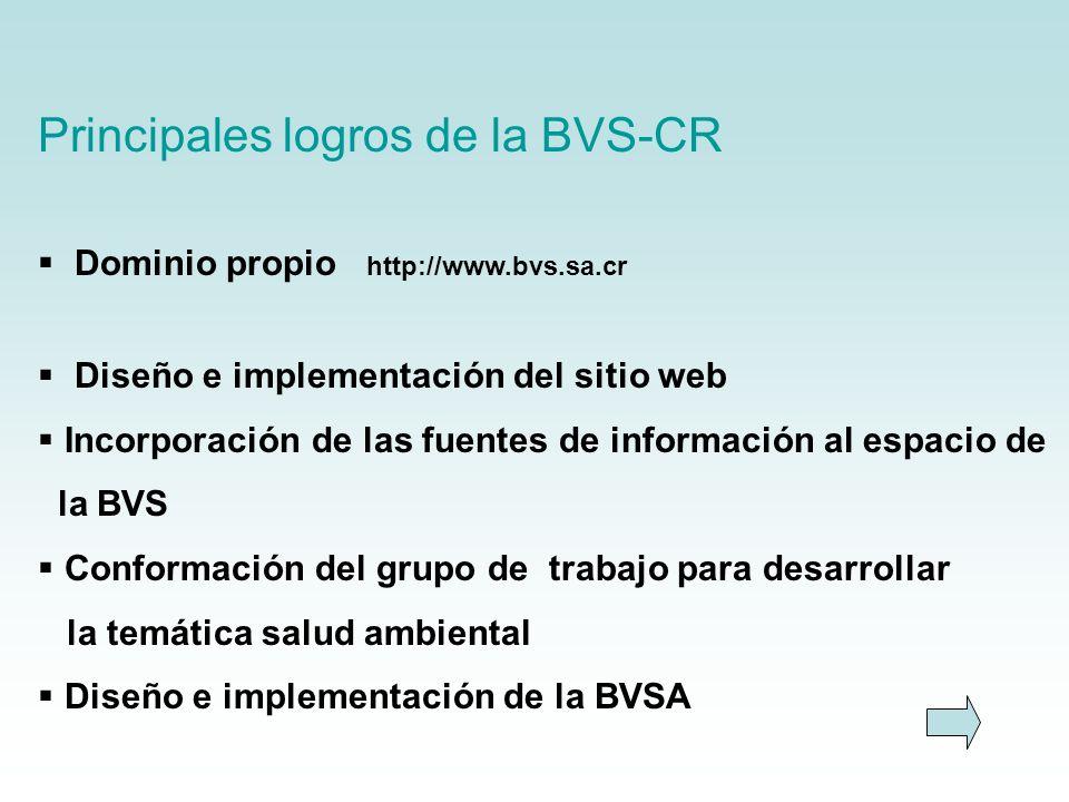 Principales logros de la BVS-CR Dominio propio http://www.bvs.sa.cr Diseño e implementación del sitio web Incorporación de las fuentes de información