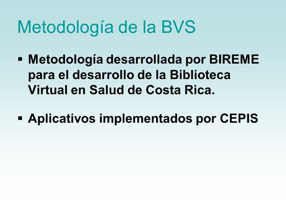 Metodología de la BVS Metodología desarrollada por BIREME para el desarrollo de la Biblioteca Virtual en Salud de Costa Rica. Aplicativos implementado