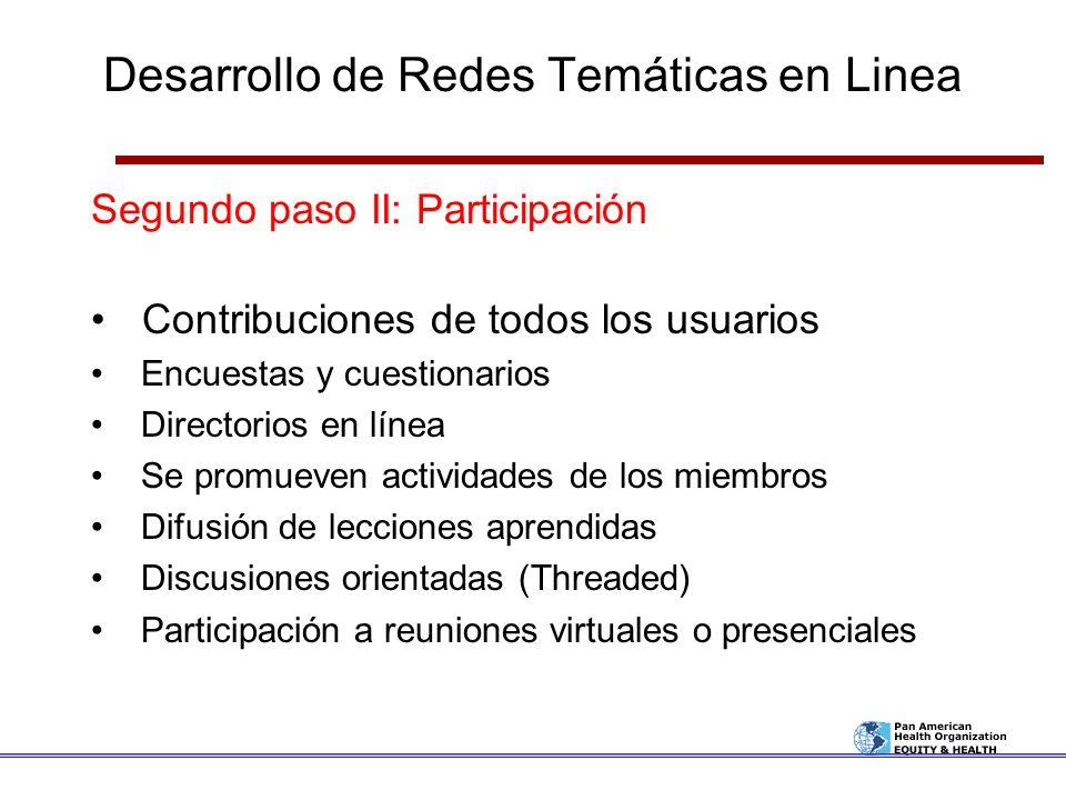 Desarrollo de Redes Temáticas en Linea Segundo paso II: Participación Contribuciones de todos los usuarios Encuestas y cuestionarios Directorios en lí