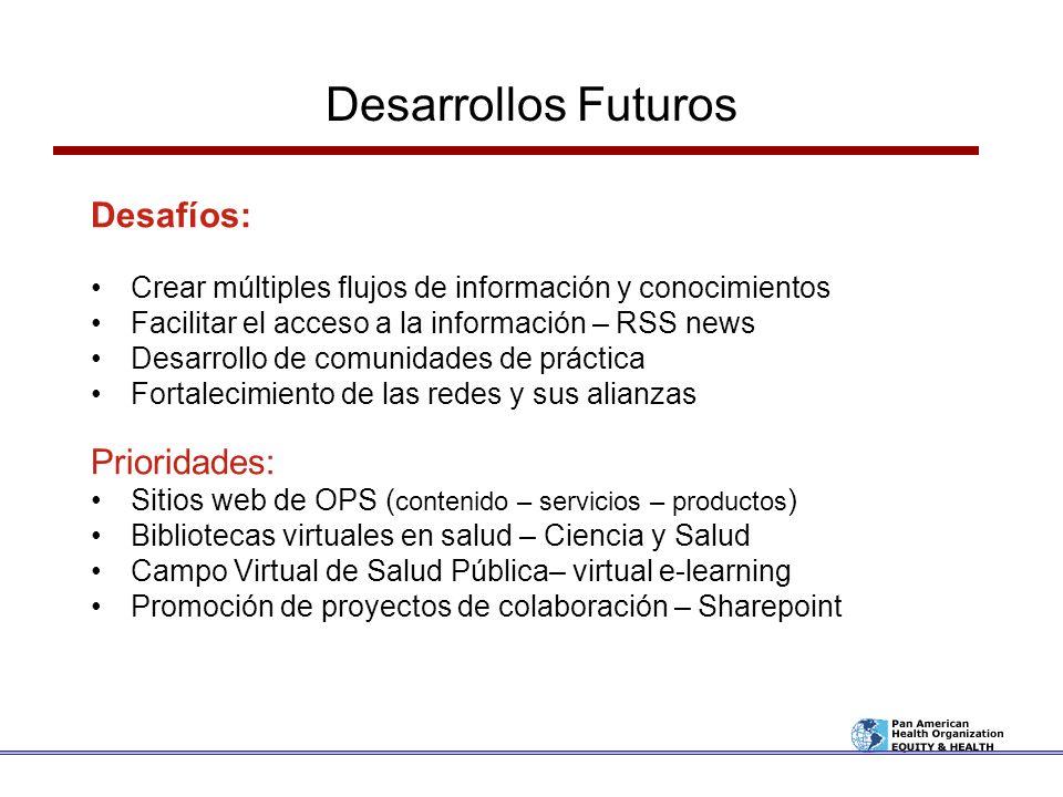 Desarrollos Futuros Desafíos: Crear múltiples flujos de información y conocimientos Facilitar el acceso a la información – RSS news Desarrollo de comu