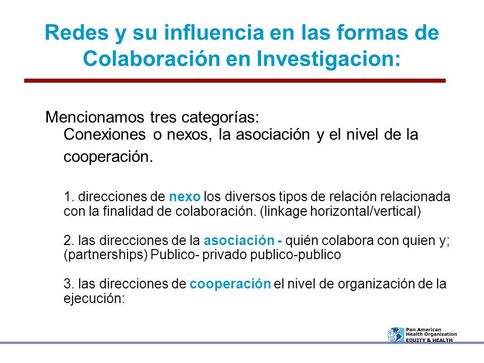 Redes y su influencia en las formas de Colaboración en Investigacion: Mencionamos tres categorías: Conexiones o nexos, la asociación y el nivel de la
