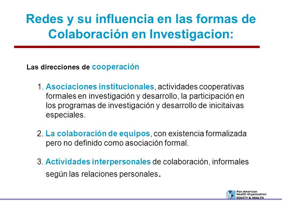 Redes y su influencia en las formas de Colaboración en Investigacion: Las direcciones de cooperación 1. Asociaciones institucionales, actividades coop