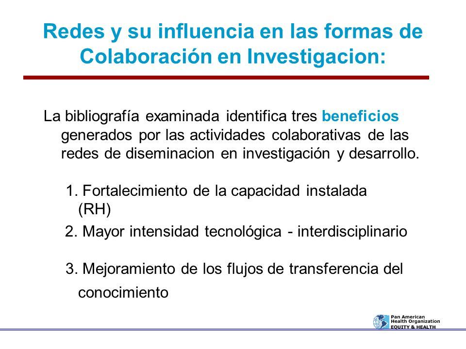 Redes y su influencia en las formas de Colaboración en Investigacion: La bibliografía examinada identifica tres beneficios generados por las actividad