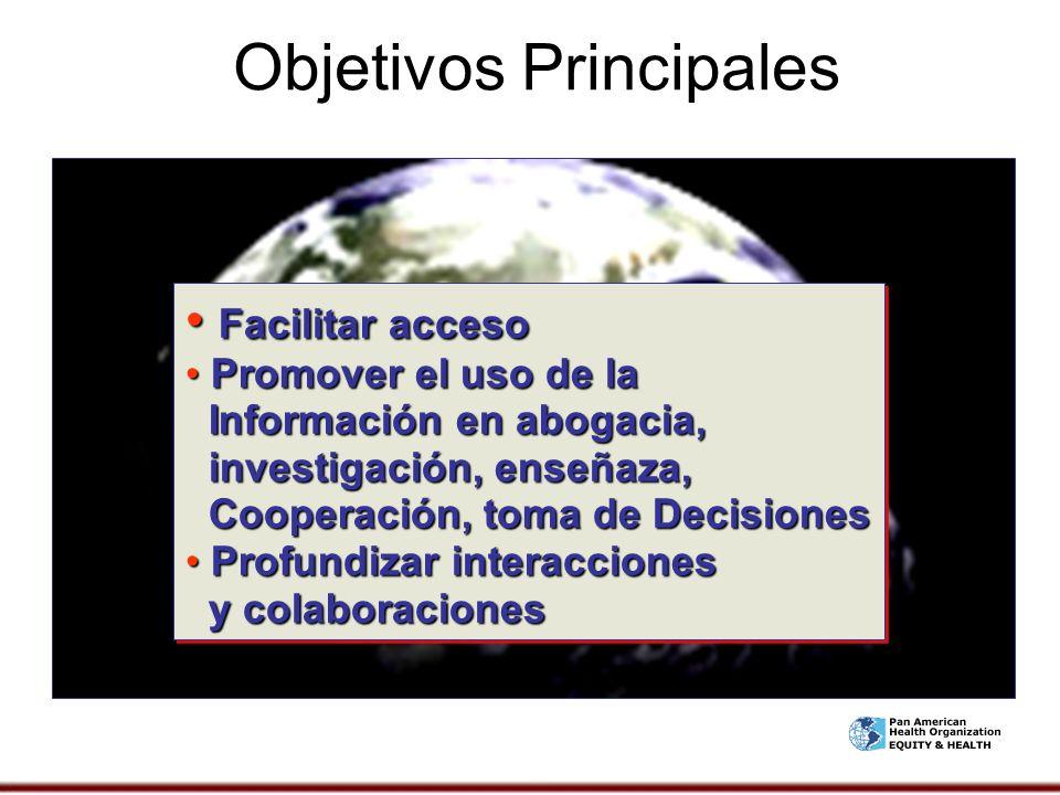Objetivos Principales Facilitar acceso Facilitar acceso Promover el uso de la Información en abogacia, investigación, enseñaza, Cooperación, toma de D