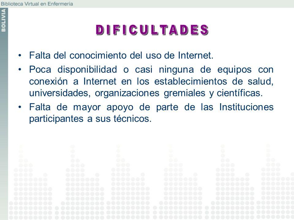 Falta del conocimiento del uso de Internet. Poca disponibilidad o casi ninguna de equipos con conexión a Internet en los establecimientos de salud, un