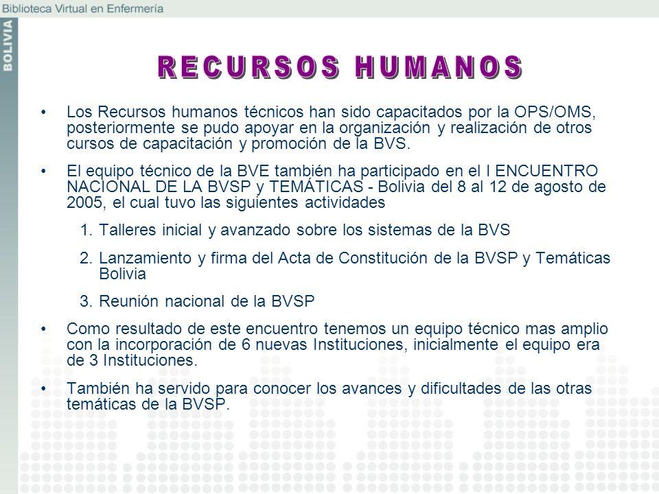 Los Recursos humanos técnicos han sido capacitados por la OPS/OMS, posteriormente se pudo apoyar en la organización y realización de otros cursos de c