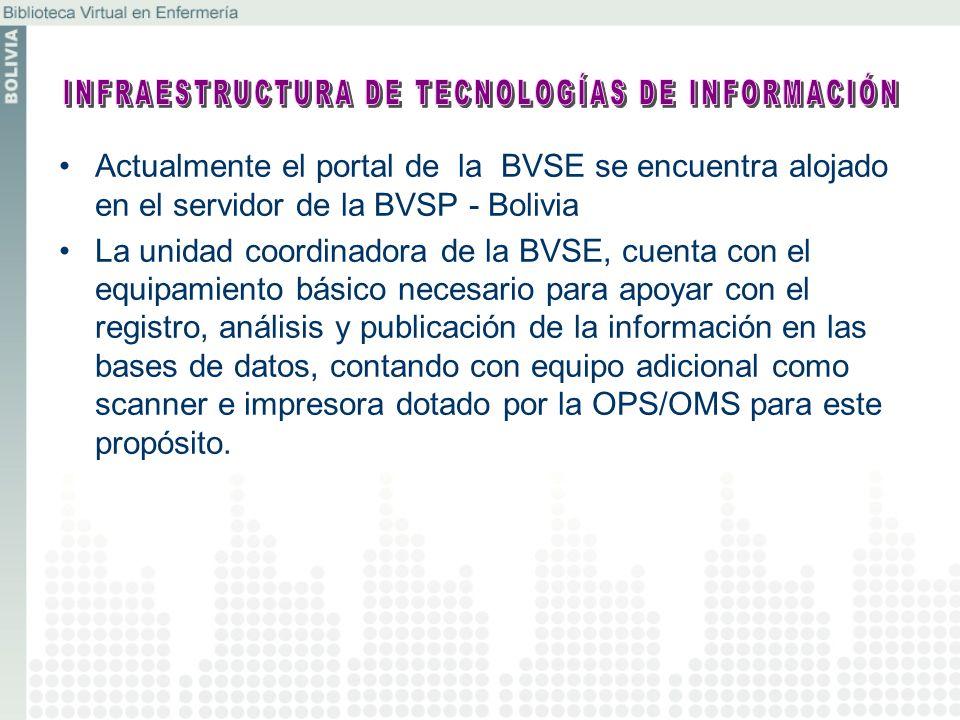 Actualmente el portal de la BVSE se encuentra alojado en el servidor de la BVSP - Bolivia La unidad coordinadora de la BVSE, cuenta con el equipamient