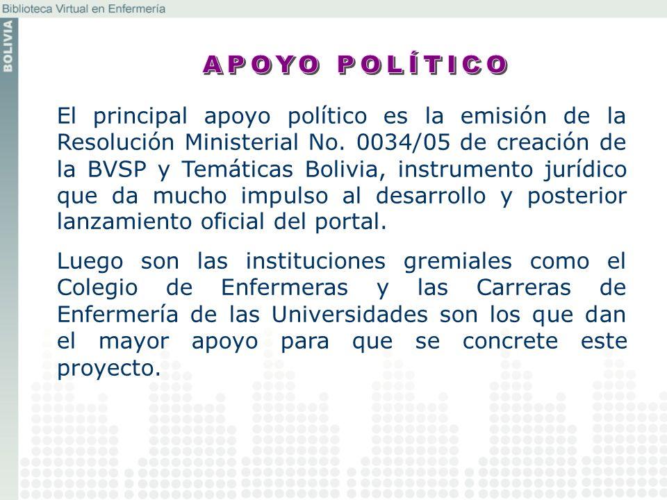 El principal apoyo político es la emisión de la Resolución Ministerial No. 0034/05 de creación de la BVSP y Temáticas Bolivia, instrumento jurídico qu
