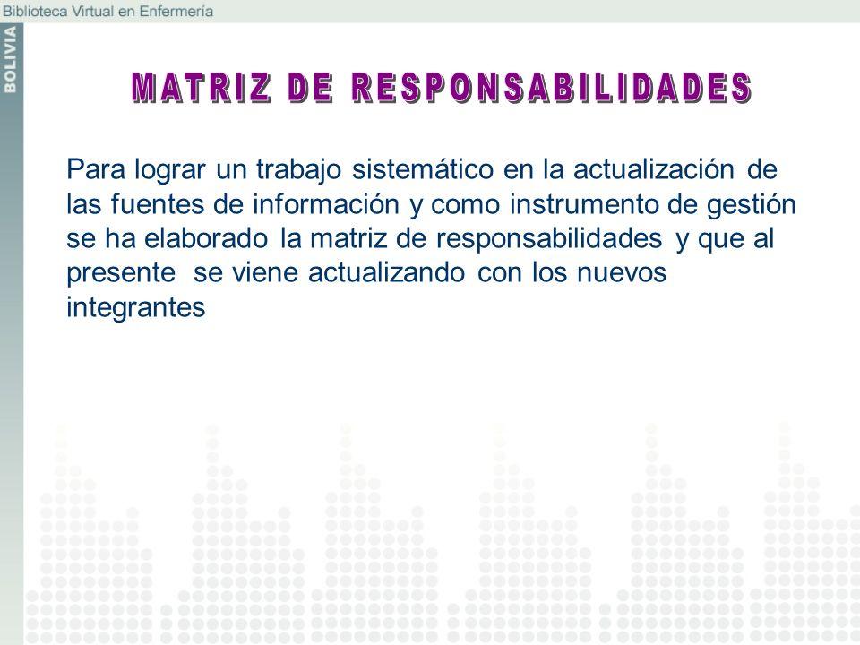 Para lograr un trabajo sistemático en la actualización de las fuentes de información y como instrumento de gestión se ha elaborado la matriz de respon