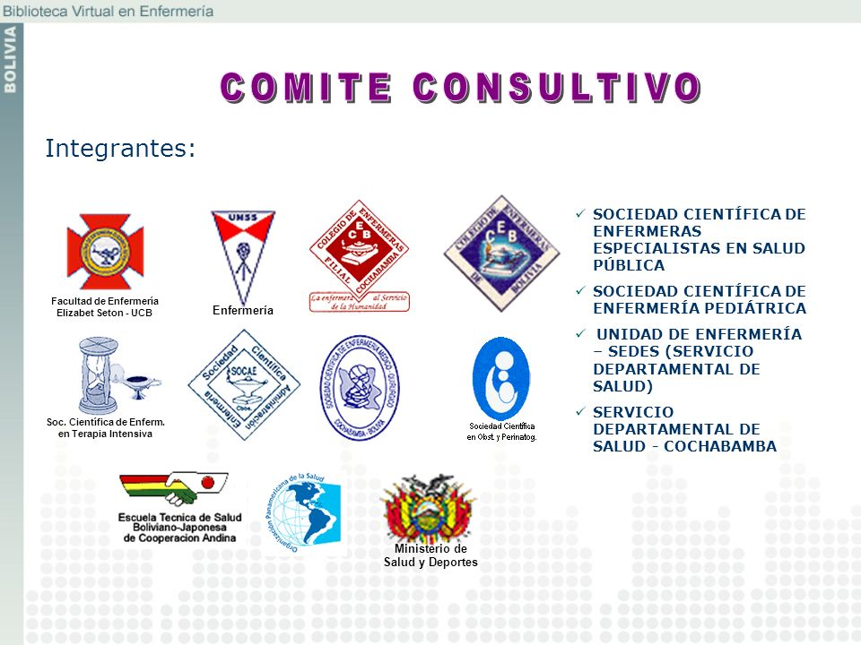 Integrantes: Ministerio de Salud y Deportes Enfermería Soc. Científica de Enferm. en Terapia Intensiva SOCIEDAD CIENTÍFICA DE ENFERMERAS ESPECIALISTAS