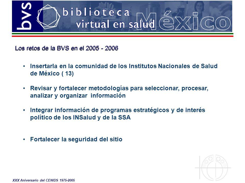Los retos de la BVS en el 2005 - 2006 Insertarla en la comunidad de los Institutos Nacionales de Salud de México ( 13) Revisar y fortalecer metodologías para seleccionar, procesar, analizar y organizar información Integrar información de programas estratégicos y de interés político de los INSalud y de la SSA Fortalecer la seguridad del sitio