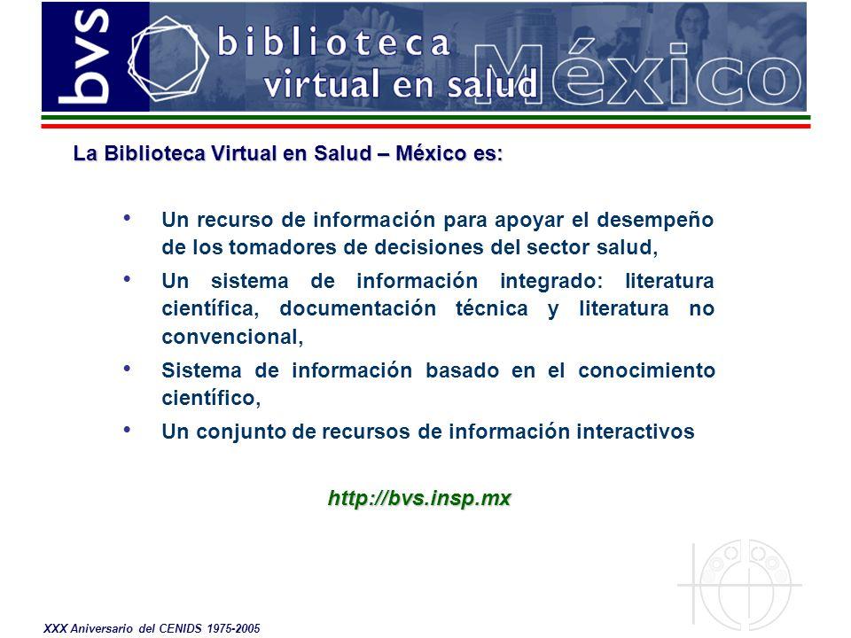 XXX Aniversario del CENIDS 1975-2005 El impacto de la Biblioteca Virtual en Salud México Sondeo de opinión sobre uso de la información de la BVS México Fecha de aplicación: julio de 2004 Universo: 1024 correos enviados Instrumento: cuestionario anexo Porcentaje de respuesta: 12.5 % ( 128 ) Respuesta en 24 hrs: 35 % (45)