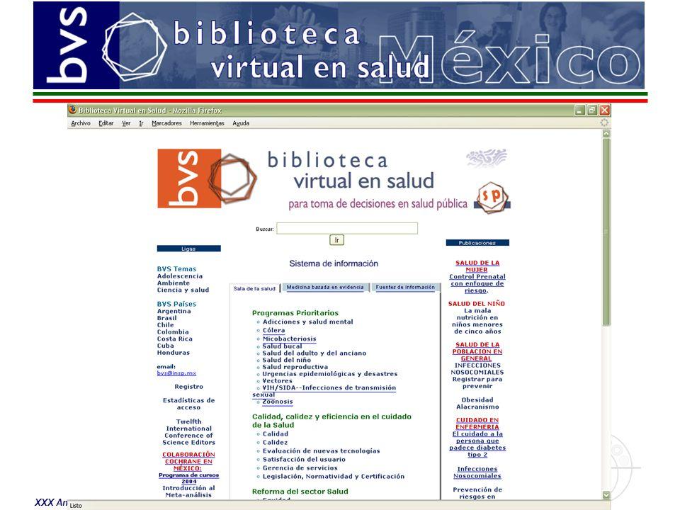 Actualmente la BVS México cuenta con: –Definición de procedimientos regulares (calendarizados) –Apoyo de 11 Direcciones Generales de la Secretaría de Salud –Monitoreo permanente de los diversos componentes –Diseño y desarrollo de un sistema modular de contenidos –Sistema de seguridad del sitio Para 2006 está prevista la conversión de los 13 discos compactos de Artemisa a base de datos en línea, este desarrollo estará disponible a través de la BVS México