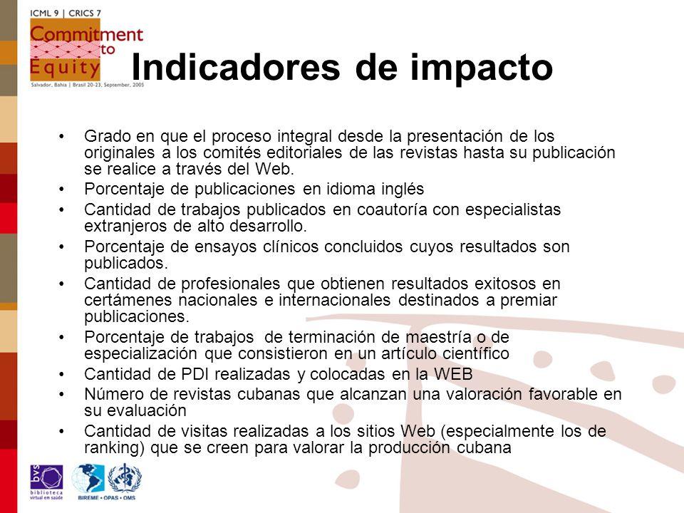 Indicadores de impacto Grado en que el proceso integral desde la presentación de los originales a los comités editoriales de las revistas hasta su publicación se realice a través del Web.