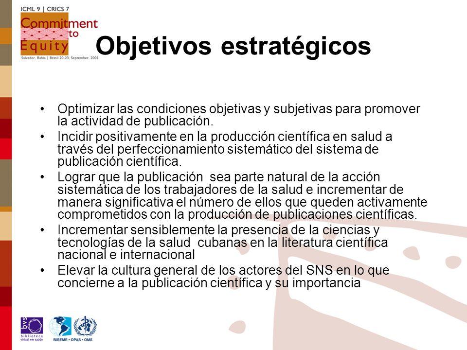 Objetivos estratégicos Optimizar las condiciones objetivas y subjetivas para promover la actividad de publicación.