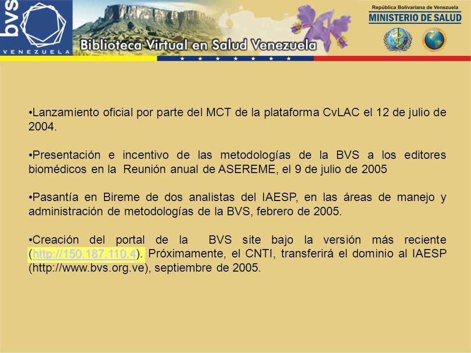 Lanzamiento oficial por parte del MCT de la plataforma CvLAC el 12 de julio de 2004.
