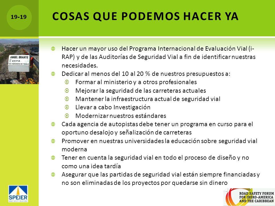 19-19 COSAS QUE PODEMOS HACER YA Hacer un mayor uso del Programa Internacional de Evaluación Vial (i- RAP) y de las Auditorías de Seguridad Vial a fin