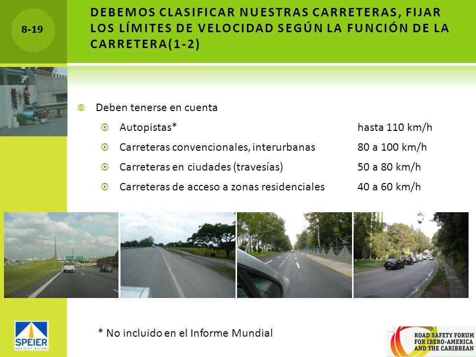 8-19 DEBEMOS CLASIFICAR NUESTRAS CARRETERAS, FIJAR LOS LÍMITES DE VELOCIDAD SEGÚN LA FUNCIÓN DE LA CARRETERA(1-2) Deben tenerse en cuenta Autopistas*