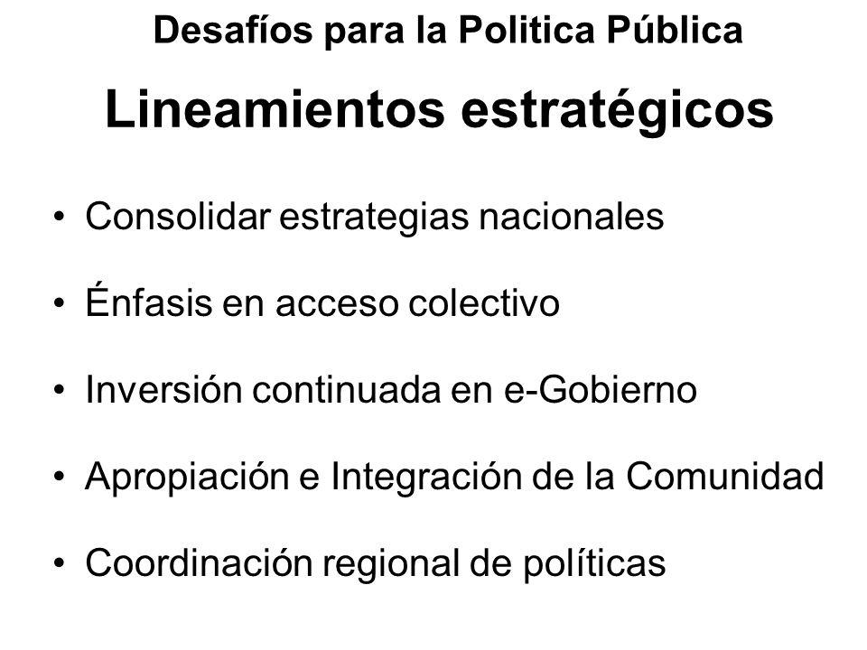 Lineamientos estratégicos Consolidar estrategias nacionales Énfasis en acceso colectivo Inversión continuada en e-Gobierno Apropiación e Integración d