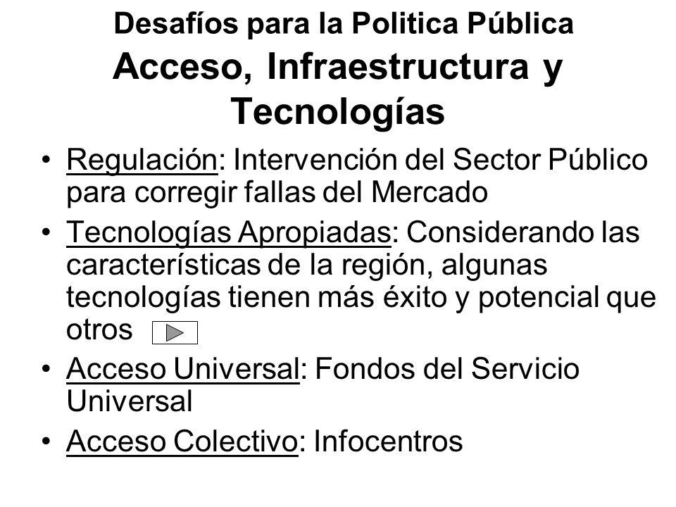 Acceso, Infraestructura y Tecnologías Regulación: Intervención del Sector Público para corregir fallas del Mercado Tecnologías Apropiadas: Considerand