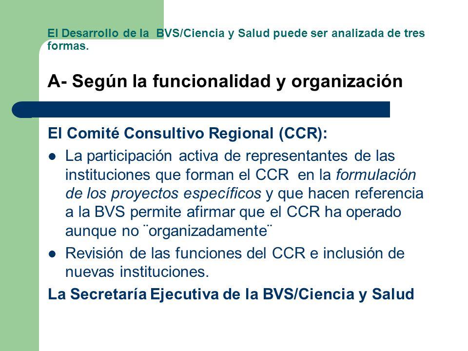 3-Evaluación. Avances y desafíos El Desarrollo de la BVS/Ciencia y Salud puede ser analizada de tres formas. A- Según la funcionalidad y organización