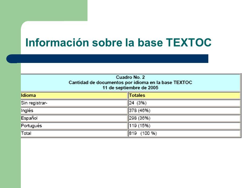 Información sobre la base TEXTOC
