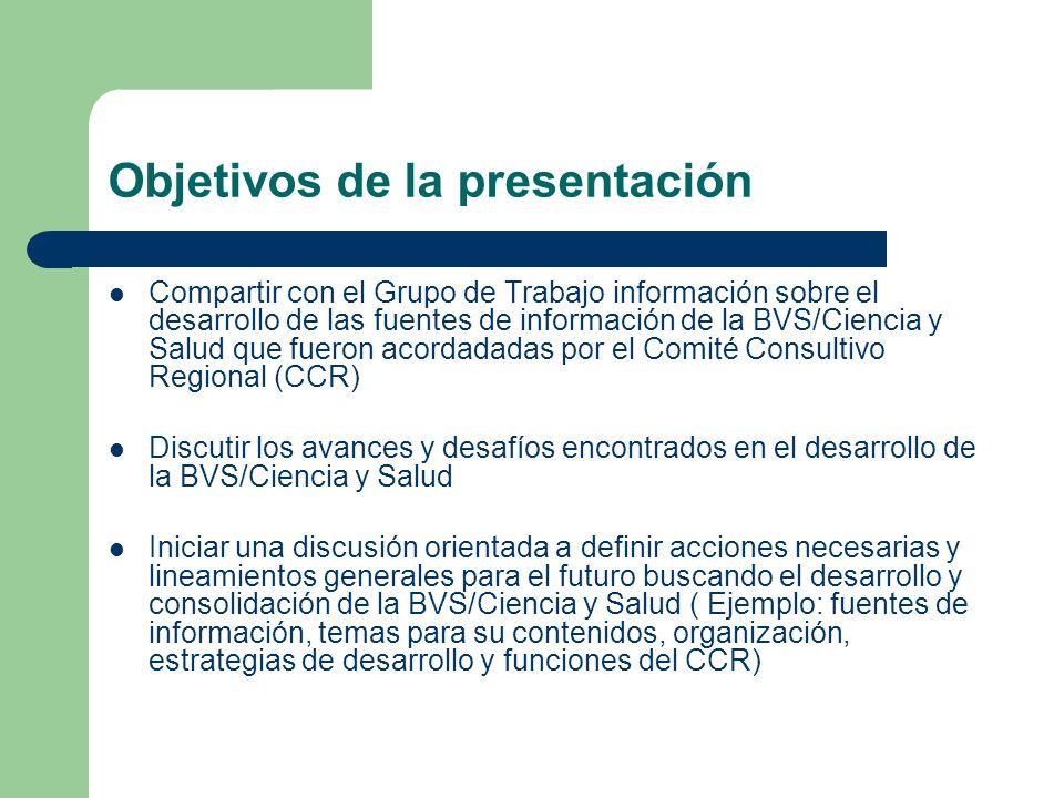 Objetivos de la presentación Compartir con el Grupo de Trabajo información sobre el desarrollo de las fuentes de información de la BVS/Ciencia y Salud