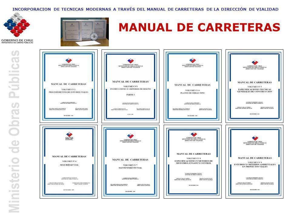 Ministerio de Obras Públicas INCORPORACION DE TECNICAS MODERNAS A TRAVÉS DEL MANUAL DE CARRETERAS DE LA DIRECCIÓN DE VIALIDAD MANUAL DE CARRETERAS
