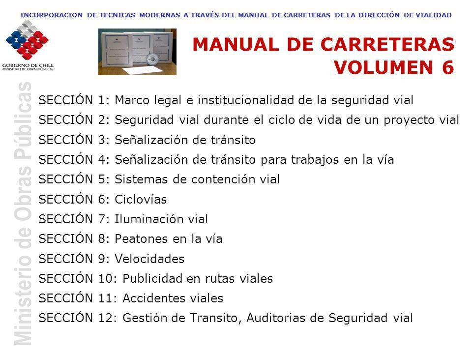 Ministerio de Obras Públicas SECCIÓN 1: Marco legal e institucionalidad de la seguridad vial SECCIÓN 2: Seguridad vial durante el ciclo de vida de un
